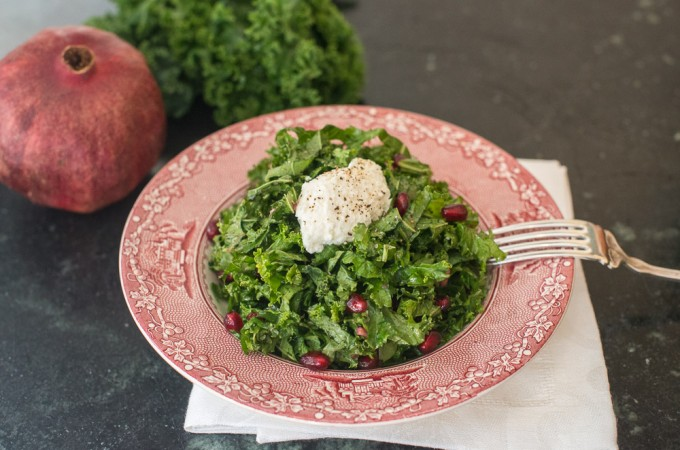 Kale Salad with Pomegranate Molasses Dressing and Ricotta Cheese