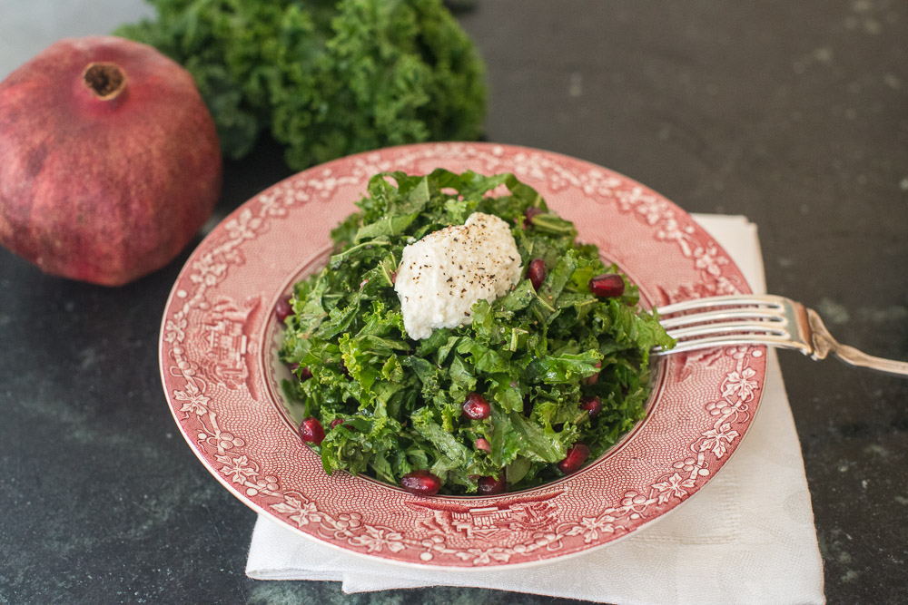Mead Meadow - Kale Salad with Pomegranate Dressing and Ricotta Cheese