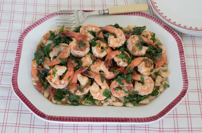 Tuscan Shrimp with White Beans