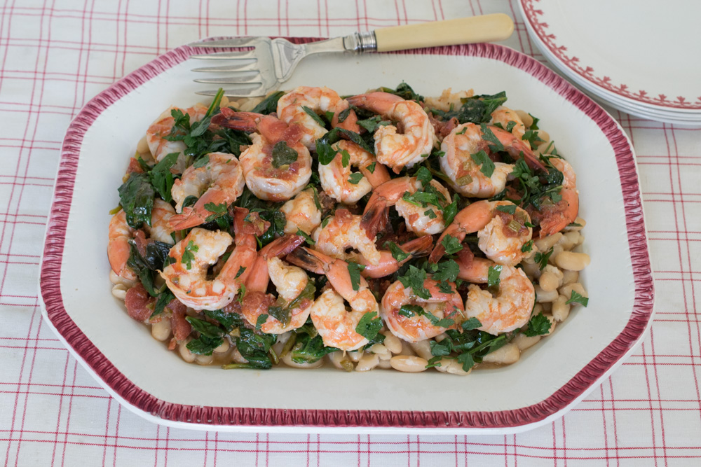Tuscan Shrimp with Beans