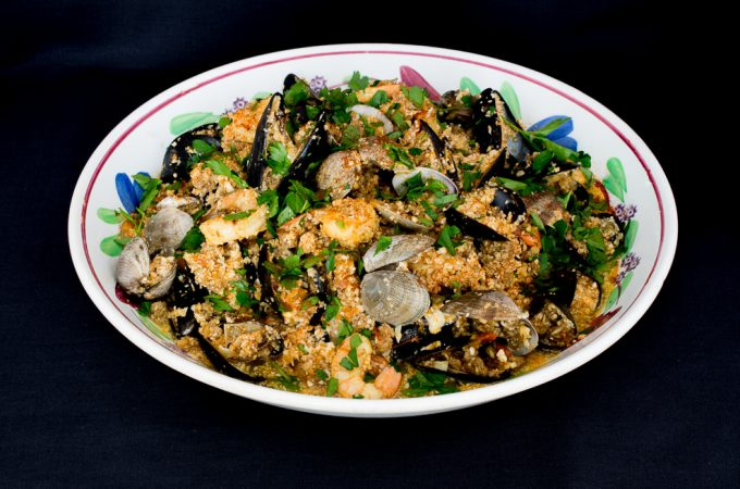 Chorizo and Seafood Paella with Cauliflower