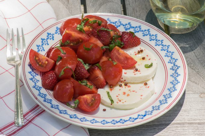 Tomato, Strawberry and Mozzarella Salad