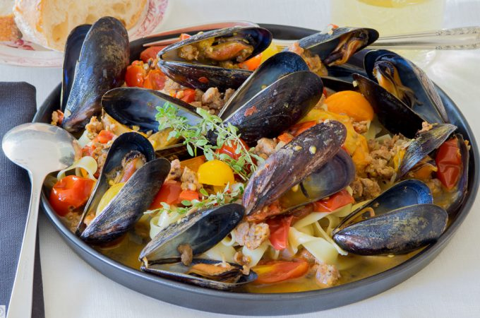 Mussels and Chorizo with Fettuccine